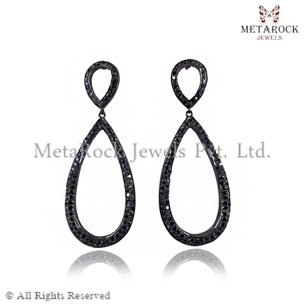 Online Party Wear 925 Sterling Silver Black Diamond Pave Pear Drop Dangle Earrings Jewelry Wholesaler