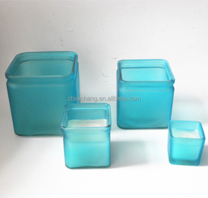 Home Lighting Decoration colorful matt square glass candle jar for wax