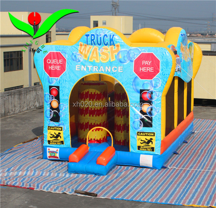 HOT selling giant inflatable adult car wash water bounce house 3-IN-1