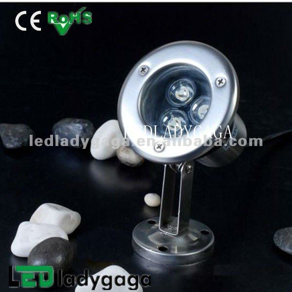 2012 DC12V / AC110-220V stainless steel led waterproof pool water light 3X1W colorfull 3X1W OD115mm