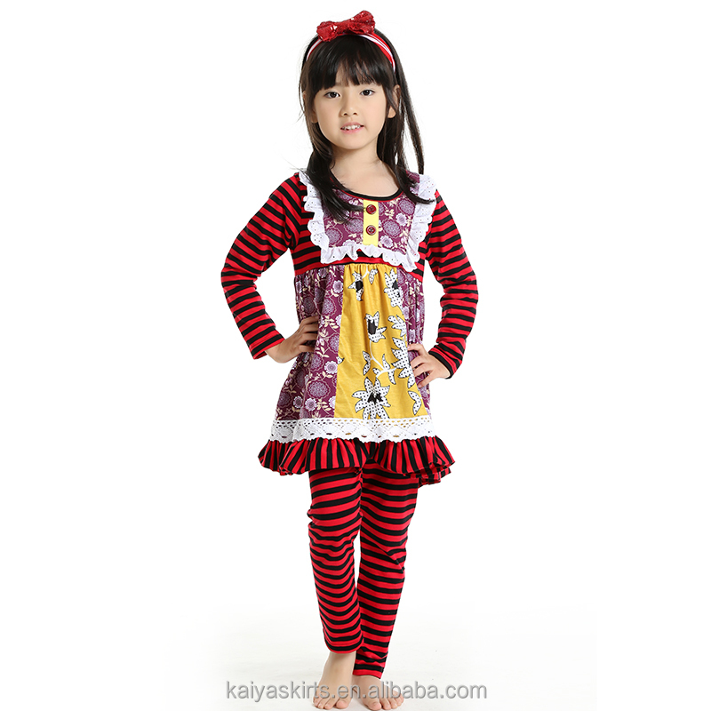 kaiya fall red and black stripe cotton top dress and pant long sleeve little girls boutique remake clothing sets