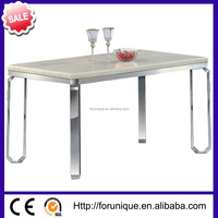 white stainless steel dining room table designs