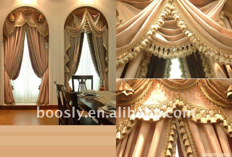 European style motorized curtain with valance