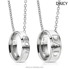 DAICY cheap wholesale new stainless steel mom and dad couple ring meaningful pendant necklace