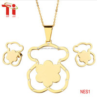 Fashion jewelry cheap necklace and earring sets bear shape