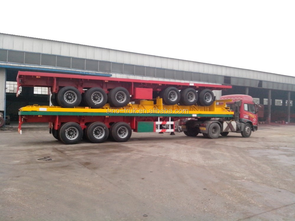 cheap 3 axle 40ft flatbed semi trailer container trailer for sale