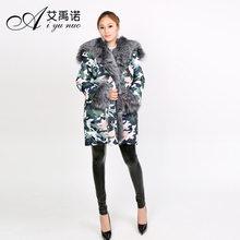 Fashion New Style Hot Sale Real Silver Fox Fur Long Coat For Women Feather Dress With Duck Down Sleeve Winter Hooded Wholesal
