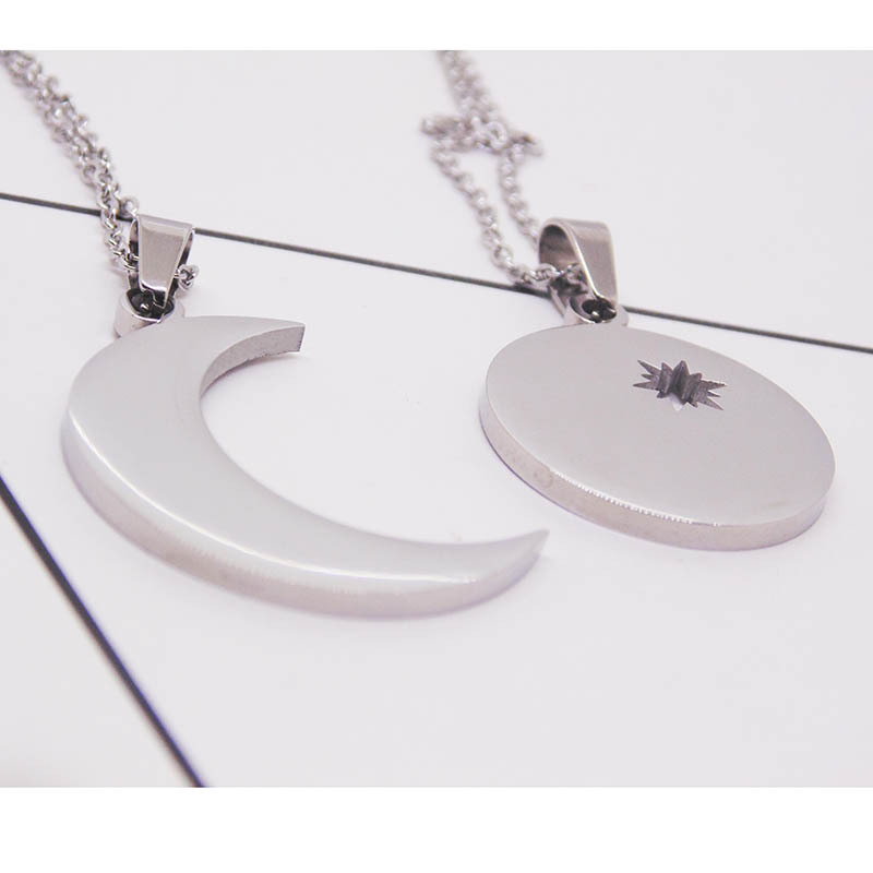 Stainless steel jewelry European and American fashion titanium steel star moon sun lovers necklace set accessories wholesale