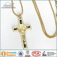 Holy Black Enameled St. Benedict Cross Pendant Gold Rosary Necklace