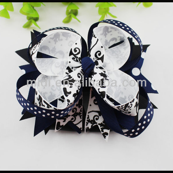 Blue baby grosgrain large flower hair clip