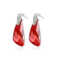 Allencoco Exquisite 925 sterling silver Red Crystal Dangle Earrings For Fashion Girls