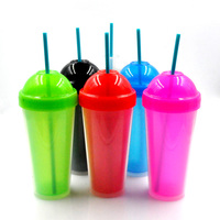 Wholesale eco-friendly clear 16oz double wall plastic cup with straw and lid