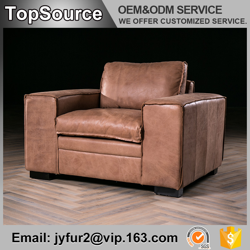 Living Room Grey Leather Single Seat Chesterfield Leather Sofa