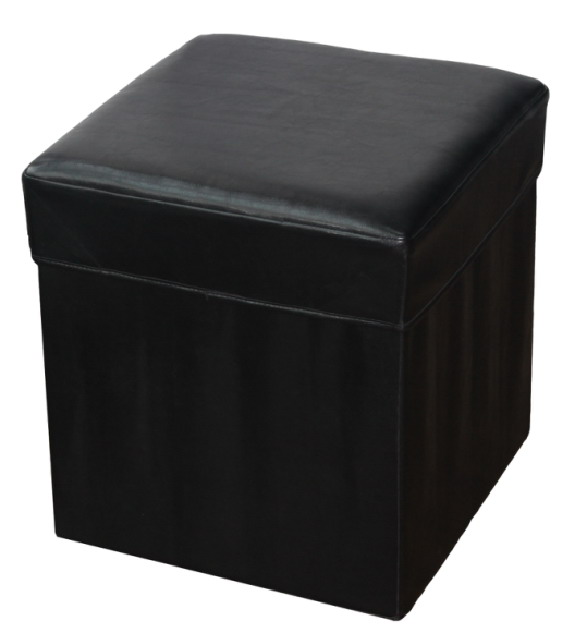 Black Faux Leather Folding Storage Stool For Livingroom/Bedroom