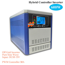 Off grid solar inverter with built-in charge controller, 600W 12V pure sine wave inverter integrated with 30A PWM controller