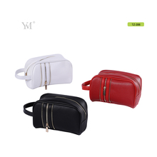 promotion soft pvc leather zipper bag cosmetic pouch with wrist