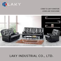 V-1213 decoro leather sofa recliner black sofa