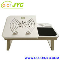 Folding laptop table with cooling fan
