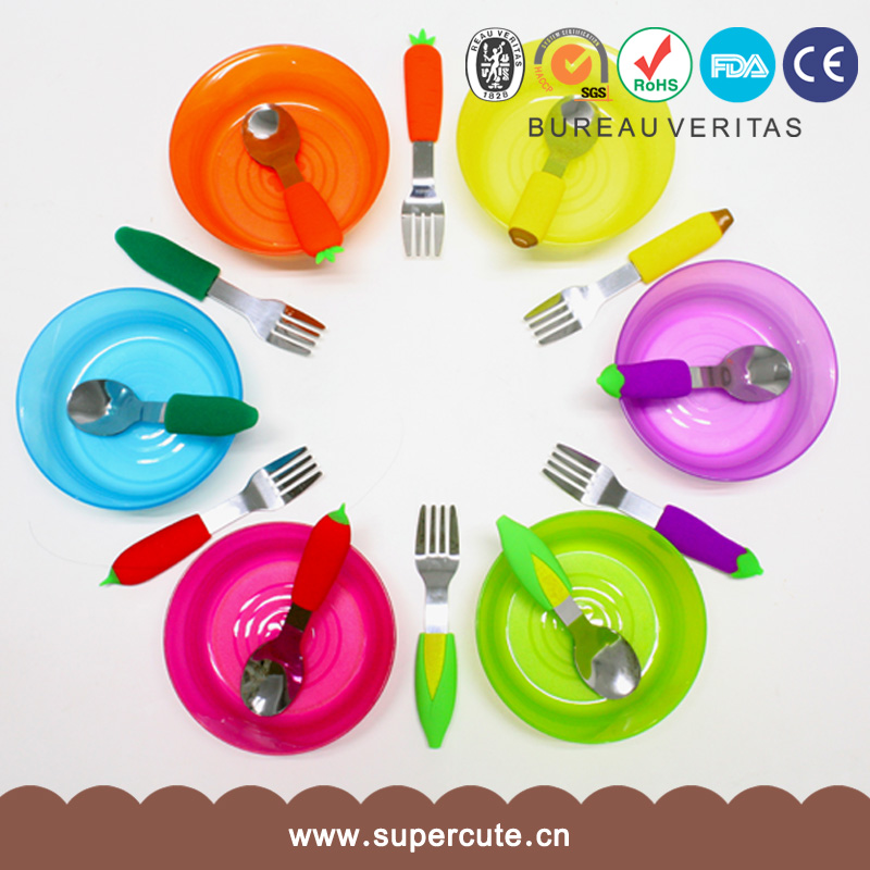 2015 Cheap children cartoon flatware sets lead free stainless steel forks knives and spoons