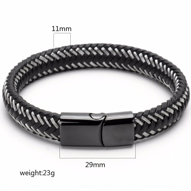 2017 new design black white titanium steel button with black cowhide fashion bracelet for men leather bracelet