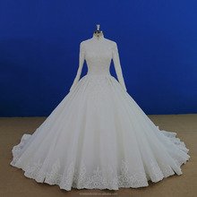 High quality beaded lace appliqued high collar muslin ballgown wedding dress