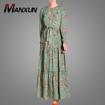 Elegant Printed Polyester Islamic Casual Muslim Women Clothing Full Length Jilbab Malaysia Kebaya Jubah New Model Abaya In Dubai
