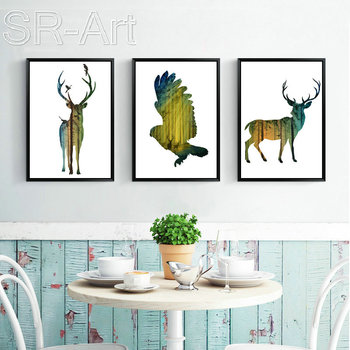 High Quality Abstract Wall Art Painting Elk Design Nordic Style Custom Print Canvas Painting for Living Room