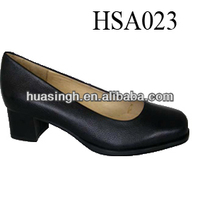 classical design black genuine leather low heel high women dress shoes