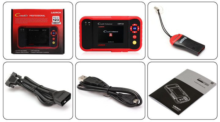 100% Original Launch Tech CRP123 ABS, SRS, Transmission And Engine Code Scanner US Version Launch Profession Creader CRP123
