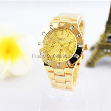 Gold color metal bracelet square rhinestone fancy lady vogue elegance watch with small case 35mm