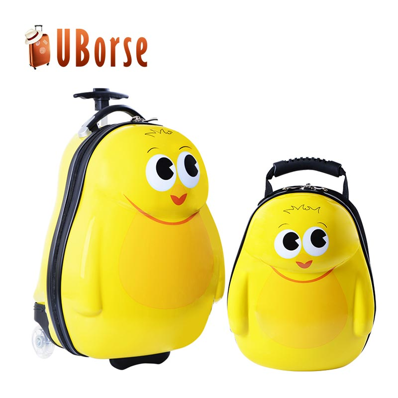 2017 China Supplier ABS Kid Travel Trolley Luggage, Cartoon Cute Kids School Bags Kids Luggage Set