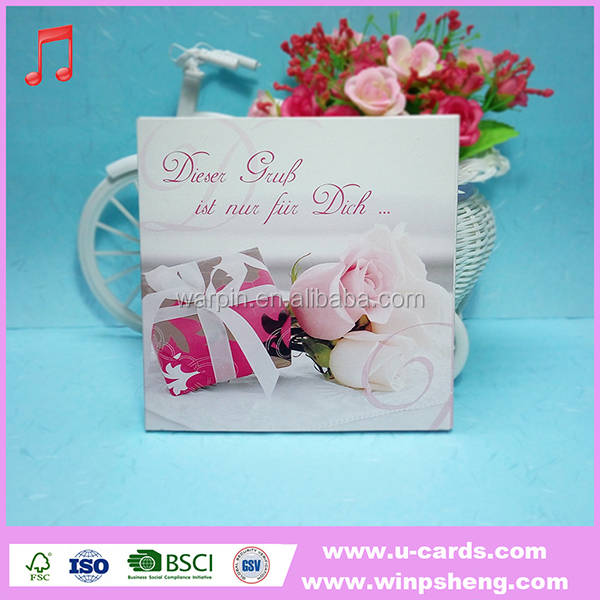 New beauiful gift paper handmade rose day greeting card