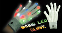 Magic LED Flashing Finger Tip Gloves Rave Glow Flashing Lights Light Up Club Dance PARTY FAVOR