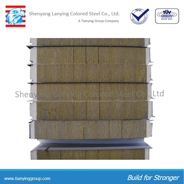 fireproof rock wool sandwich panel rockwool sandwich panel for roof and wall 50mm,75mm,100mm