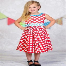 Latest new model design cotton fancy sleeveless one piece girl dress
