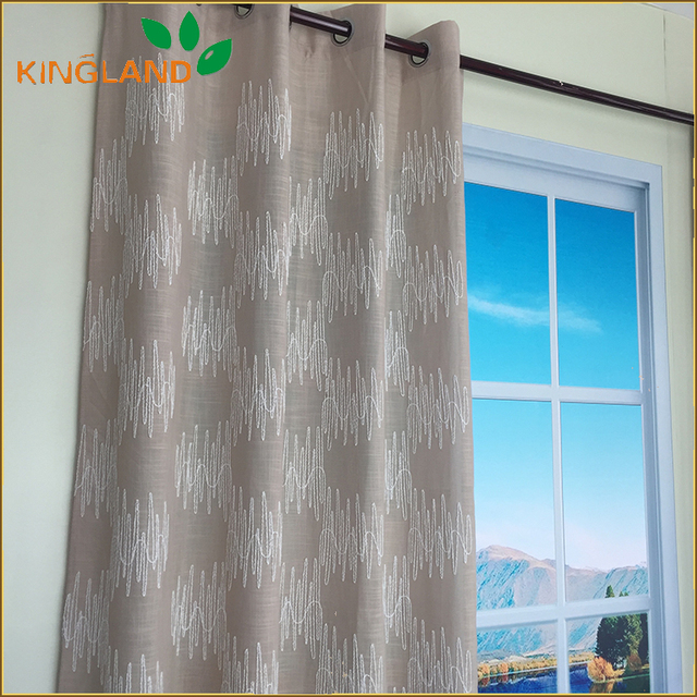 Casual Style Linen Curtains China Embroidery Curtain Sheer Fabric