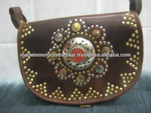 Unique Moroccan Dark Brown Leather Coin Studded Boho Satchel Bag