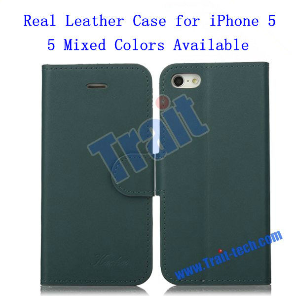 High Quality Flip Stand Real Leather Case for iPhone 5 Dropshipping