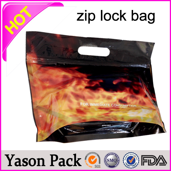 Yason tri-fold loop handle plastic bag metallized aluminum foil zip bag custom hair extensions plastic bags