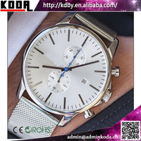 China Watch Facotry New Silver Mesh Steel Band King Quartz Chronograph Luxury Men Watch