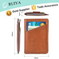 Mens Personalized Slim Brown Credit Card Holder Thin Cow Genuine Leather Small Wallet