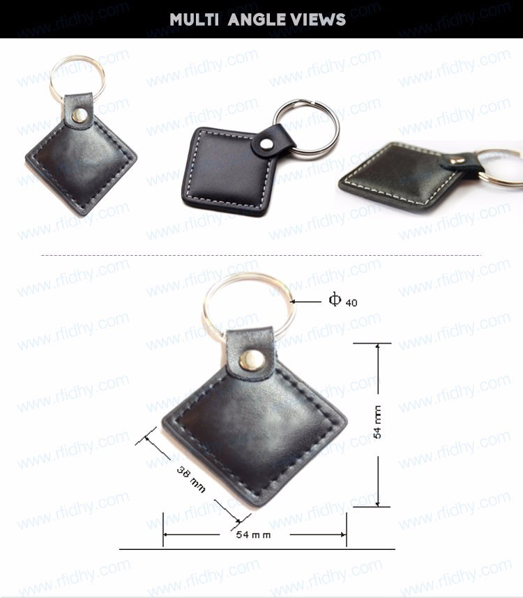 TK4100/T5577/EM4200 rfid leather key tag/keyfob with metal chain factory price