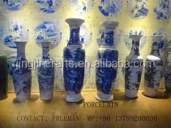 blue and white porcelain vase/hand made traditional Chinese blue and white porcelain vase/large Chinese porceain vase
