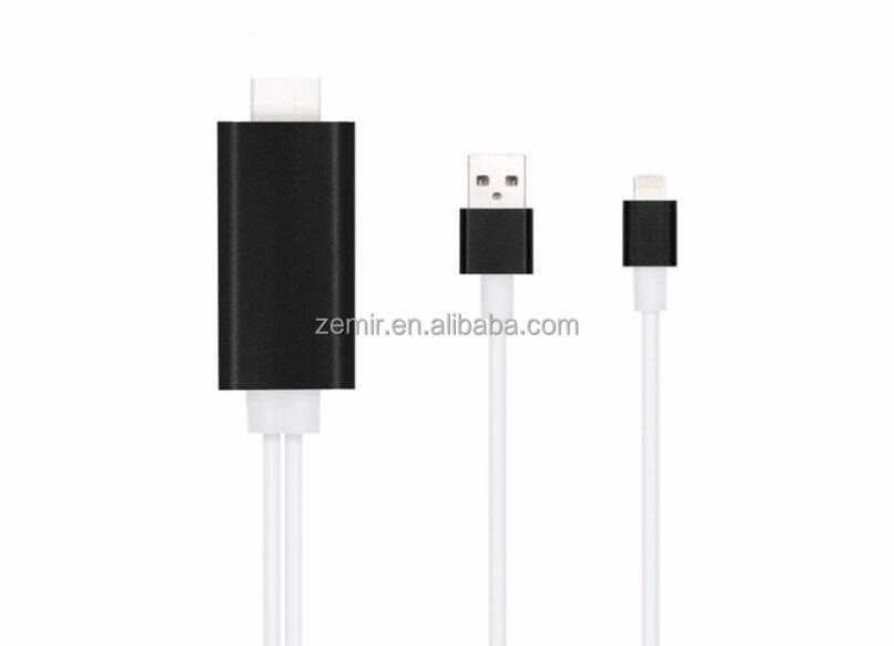6.5ft HDMI Cable for iPhone iPad to TV with Lightning Adapter HDTV Adapter for iPhone iPad 1080P