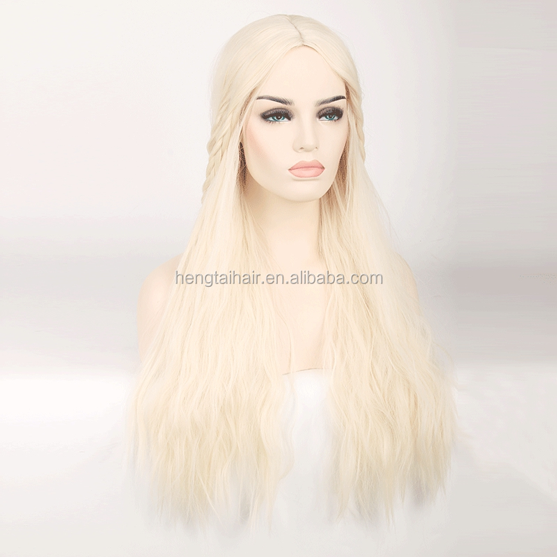 Game of Thrones Daenerys Targaryen Mother of Dragons 75cm Long Straight Heat Resistant Synthetic Cosplay Wig for Women Blond