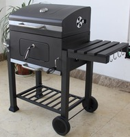 Garden Used Classical Charcoal BBQ Barbecue Grill with a Trolley Cart in Black
