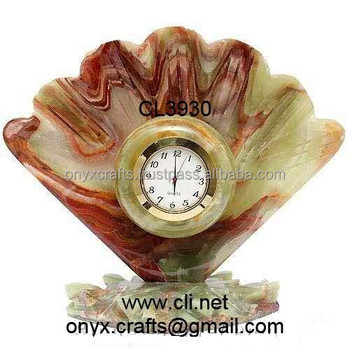 Shell Shaped Multi Red Onyx Desk Clock
