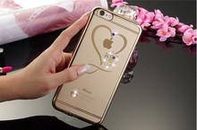 Electroplating Bumper for iPhone 7 Rhinestone Case; Luxury Crystal Back Clear Bling Diamond Soft TPU Cover for iPhone 7 Plus