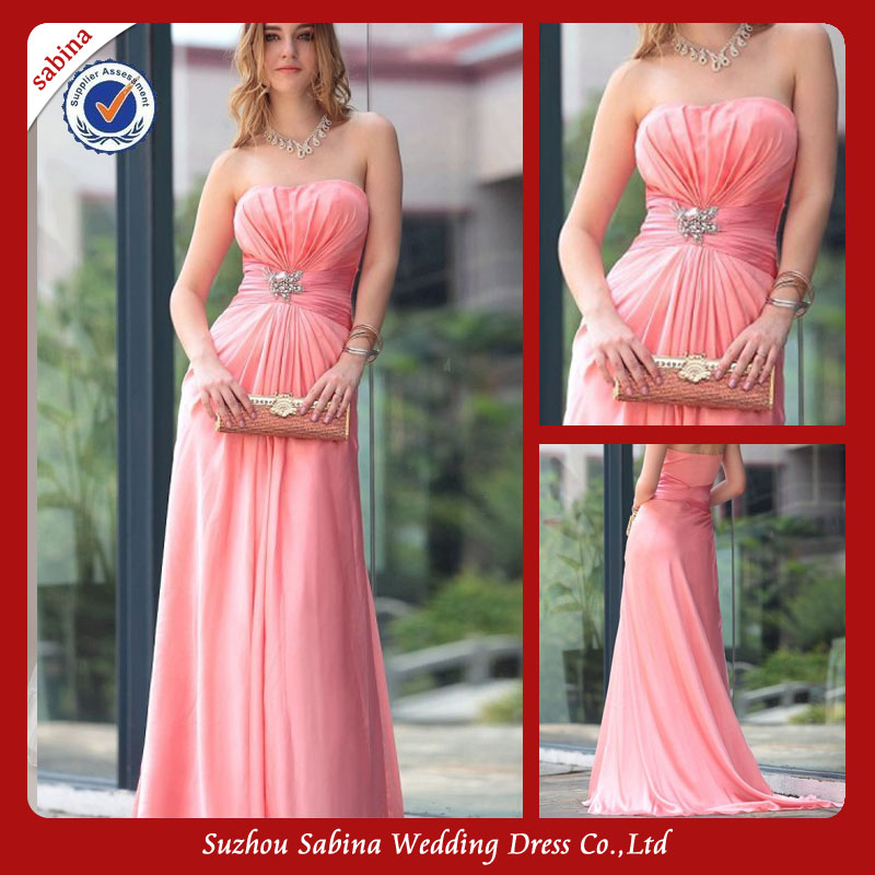 Zp0112 Peach colored prom dresses long chiffon strapless sweetheart prom dresses with low back