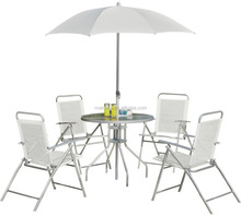 Garden Treasures Patio Furniture Company Modern Outdoor Patio Furniture 4 Seater Glass Dining Table Set With Steel Parasol